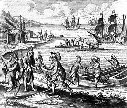 Drawing of the English trading with the Indians