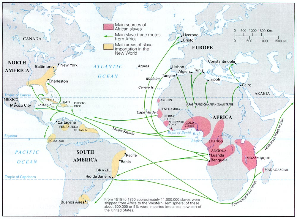 This map, detailing the African slave trade, shows the magnitude of the amount of African slaves arriving in the Carribean from West Africa. Many of these slaves brought with them Lukumi and Yobura, two essential religions that help compose Santeria.