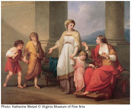 ANGELICA KAUFFMAN, Cornelia Pointing to Her Children as Her Treasures, 1785. Oil on canvas, 40″ × 50″. Virginia Museum of Fine Arts, Richmond, Virginia.