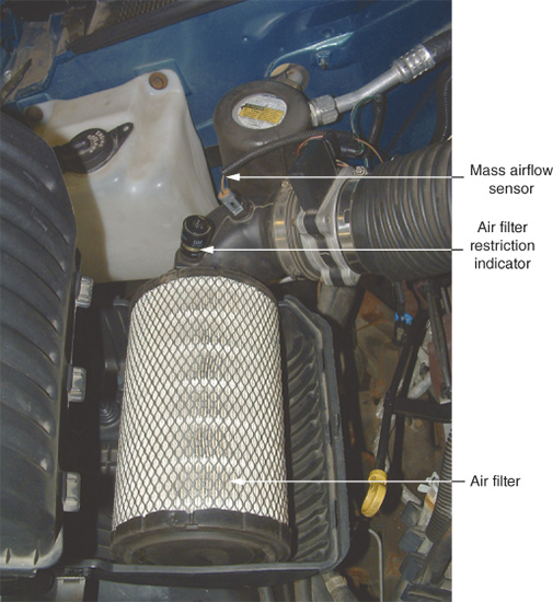 A mass airflow sensor and an air filter restriction indicator are located on the intake duct. Air flows from the duct to the air filter.