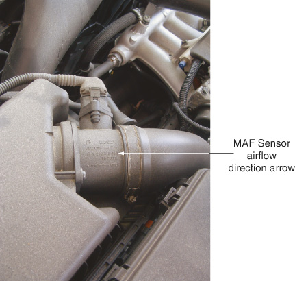 The arrow on the M Ay F sensor body indicates the direction of airflow.