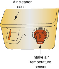 The intake air temperature sensor may be mounted in the air cleaner housing.