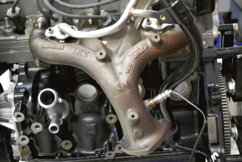 An exhaust manifold for a four-cylinder engine.