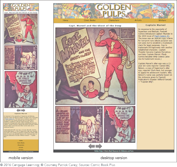 """A screenshot shows """"Golden Pulps"""" sample page in mobile and desktop versions."""