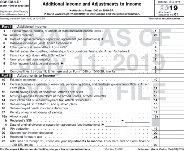 A form shows additional income and adjustments to income. Taxable refunds, credits, or offsets of state and local income taxes. Part 1 additional income: Alimony received. Business income or (loss). Attach Schedule C or C-EZ. Capital gain or (loss). Other gains or (losses), taxable amount, Pensions and annuities, Taxable amount, rental real estates, royalties, partnerships, S corporations, trusts, etc. Attach Schedule E, Farm income or (loss). Attach Schedule F. Unemployment compensation, Social security benefits, (Fill-in blank), b. Taxable amount, Other income. List type and amount .Combine the amounts in the line 1 through 8. Part 4: Adjustments to income: Educator expenses, Certain business expenses of reservists, performing artists, and fee-basis government officials. Attach Form 2106 or 2106-EZ, Health savings account deduction. Attach Form 8889, Moving expenses. Attach Form 3903, Deductible part of self-employment tax. Attach schedule SE, Self-employed SEP, SIMPLE, and qualified plans, Self-employed health insurance deduction, Penalty on early withdrawal of savings, Alimony paid, b. Recipient's SSN, IRA deduction, Student loan interest deduction, Tuition and fees. Attach Form 8917, Domestic production activities deduction. Attach Form 8903, Add lines 10 through 21. These are your adjustments to income. Enter here and on form 1040 0r 1040 SR line A.