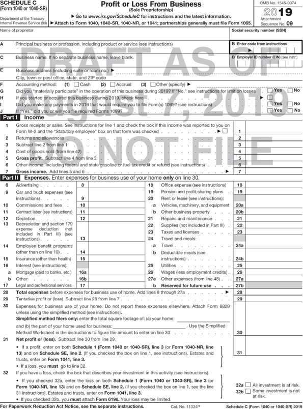 "Form 1040 shows Profit or Loss from Business. The form is divided into seven sections. The header from left to right shows the following: Schedule C (Form 1040), Department of the Treasury Internal Revenue Service (99). Profit or Loss From Business (sole proprietorship), Information about Schedule C and its separate instructions is at www.irs.gov.schedulec; Attach to Form 1040, 1040NR, or 1041; partnerships generally must file form 1065, OMB No. 1545-0074, Attachment sequence No. 09. Second section shows to be filled-in fields for the following and line B is highlighted. Name of proprietor.Principal business or profession, including product or service (see instructions). Enter code from instructions: (Entry field). Business name. If no separate business name, leave blank. Employer ID number (EIN), (see instr.): (Entry field). Business address (including suite or room no), City, town or post office, state and Zip code. The options for the lines F,G, I, and J are preceded by a tick box each. Accounting method: (1) Cash, (2) Accrual, (3) Other (specify). Did you ""materially participate"" in the operation of this business during 2016? If ""No"" see instructions for limit on losses Yes; No. If you started or acquired this business during 2016, check here. Did you make any payments in 2016 that would require you to file Form(s) 1099? (see instructions) Yes; No. If ""Yes"" did you or will you file required Forms 1099? Yes; No. Third section,Part I – Income shows to be filled-in fields for the following: Gross receipts or sales. See instructions for line 1 and check the box if this income was reported to you on Form W-2 and the ""Statutory employee"" box on that form was checked. An arrow from the line points to a tick box. Returns and allowances. Subtract line 2 from line 1. Cost of goods sold (from line 42). Gross profit. Subtract line 4 from line 3. Other income, including federal and state gasoline or fuel tax credit or refund (see instructions). Gross income. Add lines 5 and 6. Fourth section, Part II – Expenses shows to be filled-in fields for the following: Advertising. Car and truck expenses (see instructions). commissions and fees. Contract labor (see instructions). Depletion. Depreciation and section 179 expense deduction (not included in Part III) (see instructions). Employee benefit programs (other than health). Insurance (other than health). Interest: a Mortgage (paid to banks, etc.). b Other. Legal and professional services. Office expense (see instructions). Pension and profit-sharing plans. Rent or lease (see instructions): Vehicles, machinery and equipment. Other business property Repairs and maintenance. Supplies (not included in Part III). Taxes and licenses. Travel, meals and entertainment: Travel Deductible meals and entertainment (see instructions). Utilities. Wages (less employment credits). 27a. Other expenses (from line-48). Reserved for future use. Total expenses before expenses for business use of home. Add lines 8 through 27a. Tentative profit or (loss). Subtract line 28 from line 7. Expenses for business use of your home. Do not report these expenses elsewhere. Attach Form 8829 unless using the simplified method (see instructions). Simplified method filters only: enter the total square footage of: (a) your home: [Blank write-on line] and (b) the part of your home used for business: [Blank write-on line]. Use the simplified method worksheet in the instructions to figure the amount to enter on line 30. Net profit or (loss). Subtract line 30 from line 29. If a profit, enter on both form 1040, line 12(or Form 1040NR, line 13) and on Schedule SE, line 2. (If you checked the box on line 1, see instructions). Estates and trusts, enter on Form 1041, line 3. If a loss, you must go to line 32. If you have a loss, check the box that describes your investment in this activity (see instructions). If you checked 32a, enter the loss on both Form 1040, line 12, for Form 1040NR, line 13) and on Schedule SE, line 2. If you checked the box on line 1, see the line 31 instructions). Estates and trusts, enter on Form 1041, line 3. If you checked 32b, you must attach Form 6196. Your loss may be limited. The lines 32a and 32b is preceded by a tick box each. 32 a. All investment is at risk. 32 b. Some investments is not at risk. A foot note below the form reads, ""For Paperwork Reduction Act Notice, see the separate instructions. Cat. No. 11334P, Schedule C (Form 1040) 2016."""