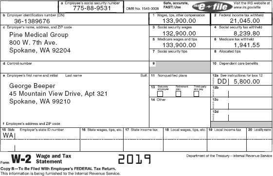 A W-2 form shows details of George Beeper's earnings and income tax withholdings for 2019. The form is divided into two Panels. The first panel contains a to f sections. It shows filled-in fields for the following: a. employee's social security number: 775-88-9531, b. employer identification number (EIN): 36-1389676, c. employer's name, address, and ZIP code: information about Pine Medical Group, e. employee's first name, initial, and last name, and f. employee's address and ZIP code. To be filled-in field in this panel is d. control number. The second panel contains 1 to 20 sections. It shows filled-in fields for 1. Wages, tips, other compensation: 133,900.00 (highlighted), 2. Federal income tax withheld: 21,045.00 (highlighted), 3. Social security wages: 132,900.00, 4. Social security tax withheld: 8,239.80, 5. Medicare wages and tips: 133,900.00, 6. Medicare tax withheld: 1,941.55, 12a. See instructions for box 12: DD, 5,800.00, and 15. State: WA, employee's state ID number. To be filled-in fields for this panel are: 7. Social security tips, 8. Allocated tips, 9, 10. Dependent care benefits, 11. Nonqualified plans, 12 b, 12 c, 12 d, 13. Checkboxes, Statutory employee, retirement plan, and third-party sick pay, 14. Other, 16. State wages, tips, etc., 15. State income tax, 18. Local wages, tips, etc., 19. Local income tax, and 20. Locality name. A foot note below the form reads, Form W-2 Wage and Tax Statement Copy B-To Be Filed With Employee's FEDERAL Tax Return. This information is being furnished to the Internal Revenue Service. 2019. Department of the Treasury-Internal Revenue Service.