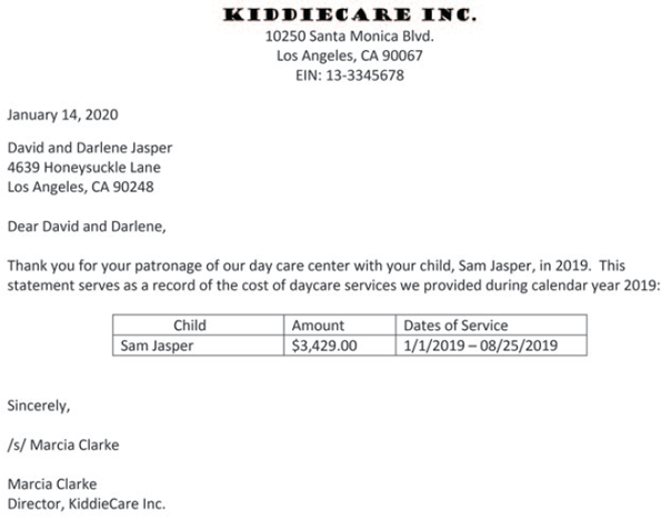 An image shows a letter from Kiddiecare Inc., 10250, Santa Monica Blvd, Los Angeles, CA 90067, EIN: 13-3345678 to David and Darlene Jasper, 4639 Honeysuckle Lane, Los Angeles, CA 90248 with the cost of daycare services during the year 2019 dated on January 14, 2020. The amount, between 1/1/2019 to 8/25/2019 is $3,429.00 for the child, Sam Jasper. Marcia Clarke, the Director of Kiddiecare Inc., has digitally signed it.